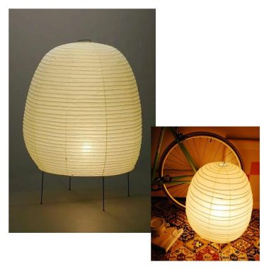 Rice Paper Table Lamp: 20N Classic Akari Japanese Rice Paper Shade Table Lamp, Natural,Lighting