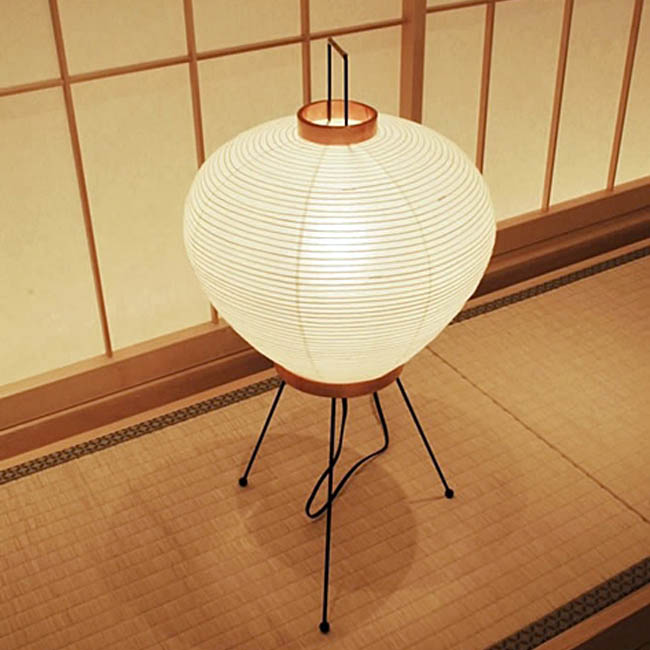 Rice Paper Table Lamp: Akari 3a Isamu Noguchi Large Japanese Table Lamp, Natural Shade,Lighting