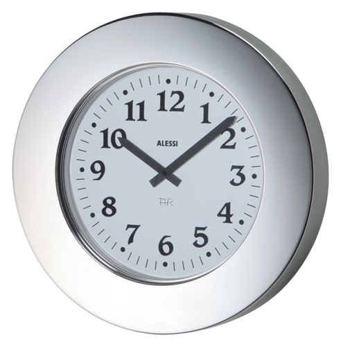 Alessi Momento Round Wall Clock By Aldo Rossi Stainless Steel