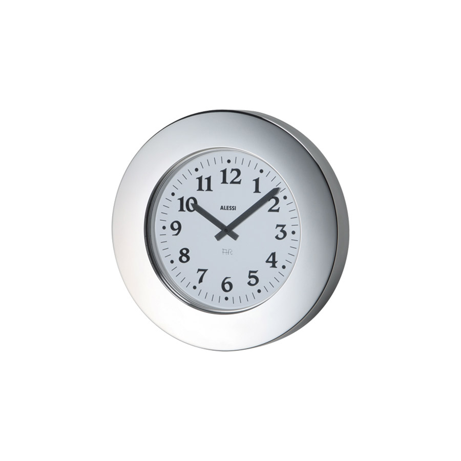 alessi inch momento decorative wall clock stainless  modern  - alessi momento round wall clock by aldo rossi stainless steel