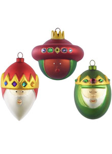 AMJ14SET2 'Three Kings' Christmas Glass Ornaments by Alessi, ...