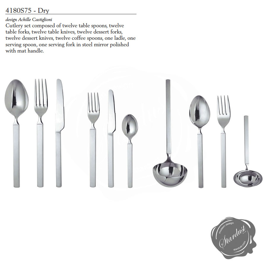 alessi dry piece deluxe flatware set  s dry cutlery  - alessi