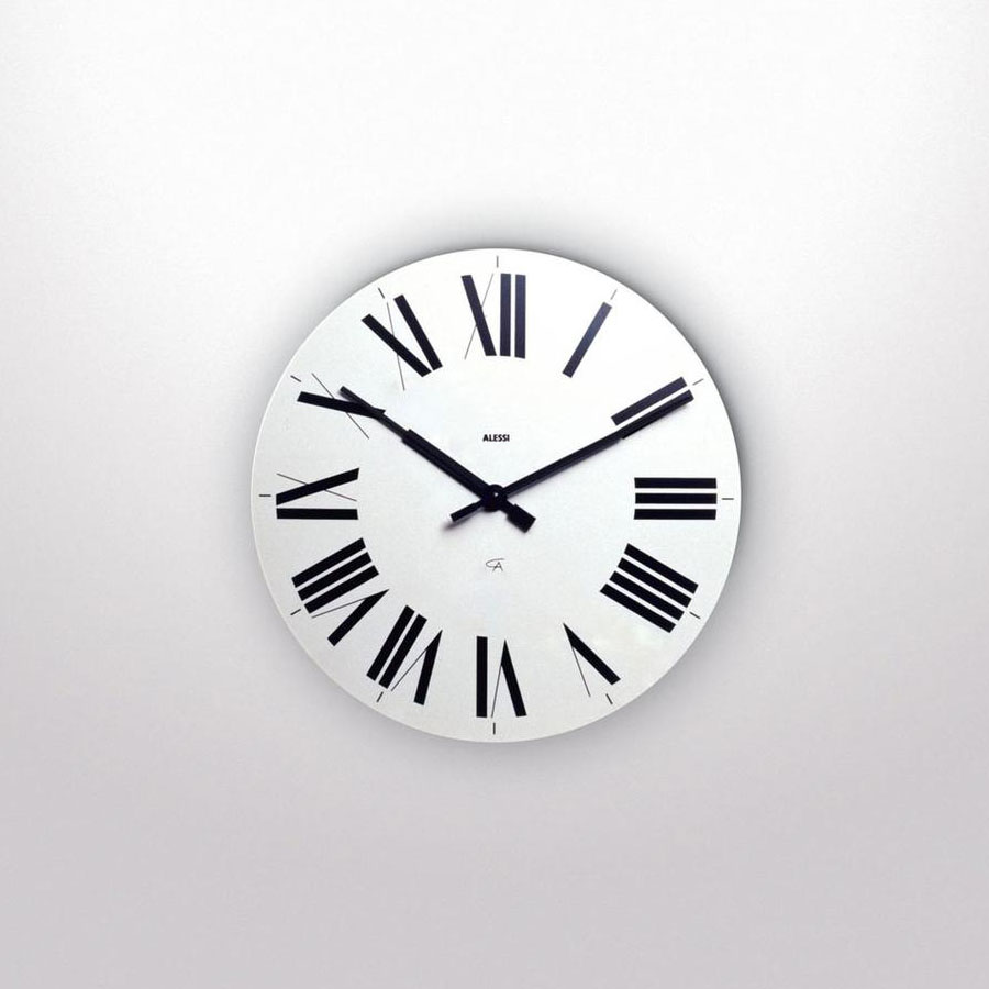 Alessi 12 Firenze White Wall Clock with Roman Numerals: Modern Wall ...