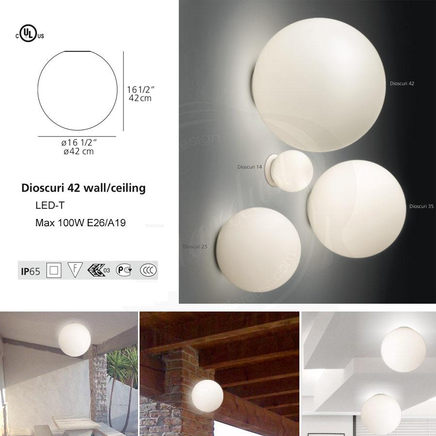 Led lighting bathroom - Artemide Dioscuri 42 Wall Ceiling Lamp By Michele De