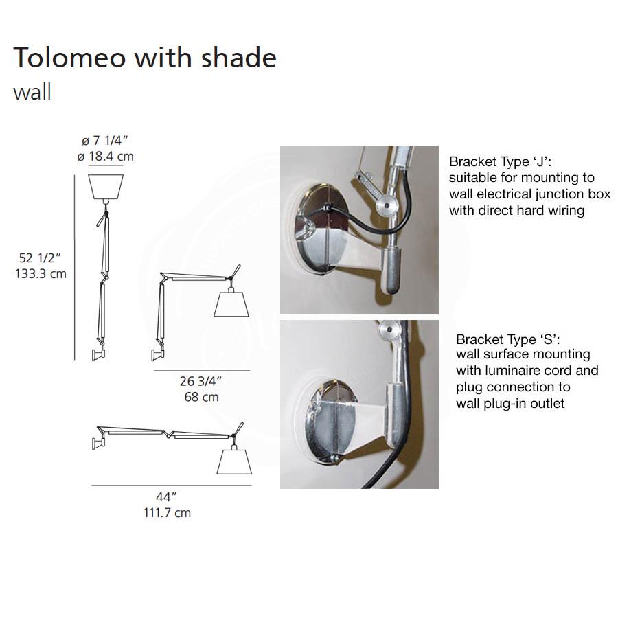Tolomeo Wall Shade 1988 Artemide Sconces No Wiring Lamp