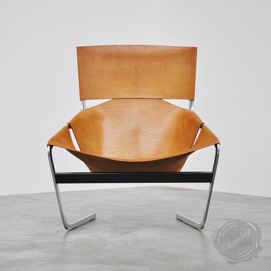 Leather sling chair - Artifort 1963 Saddle Leather F444 Butterfly Sling Chair Black Or Brown