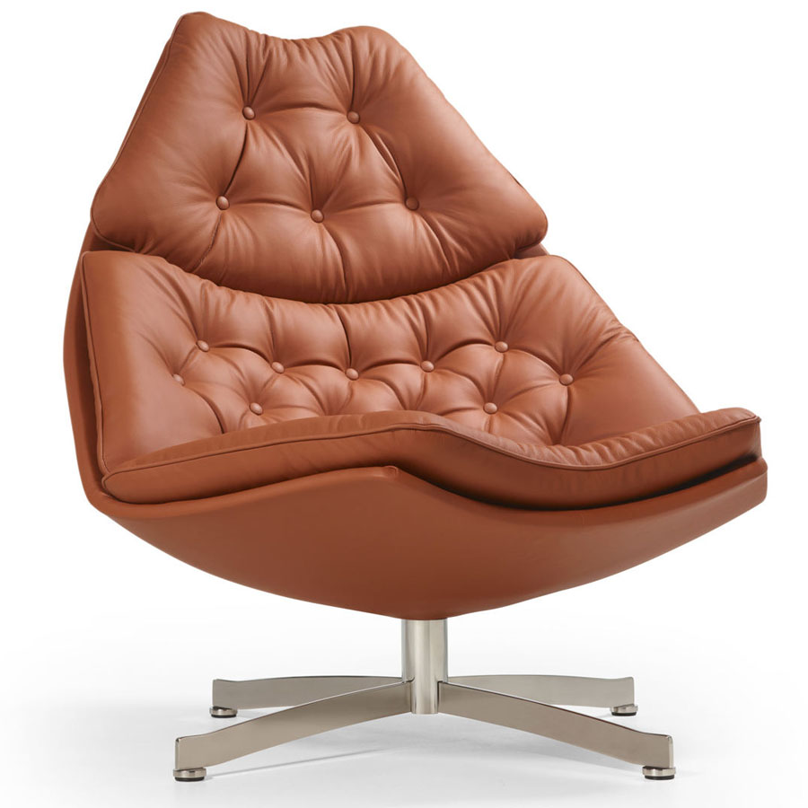 artifort f587 modern button tufted lounge chair fabric or leather - Leather Lounge Chair