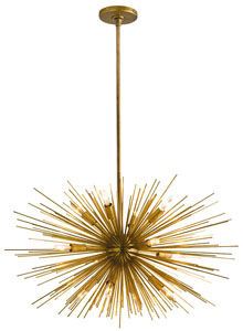 Astra Mid Century Sputnik Chandelier W 12 Lights Brass