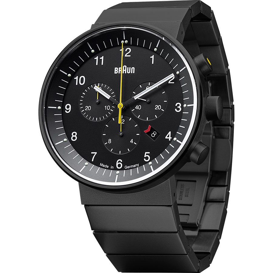 braun men s bn0035 ion plated chronograph steel watch black braun black bn0035 men s chronograph watch