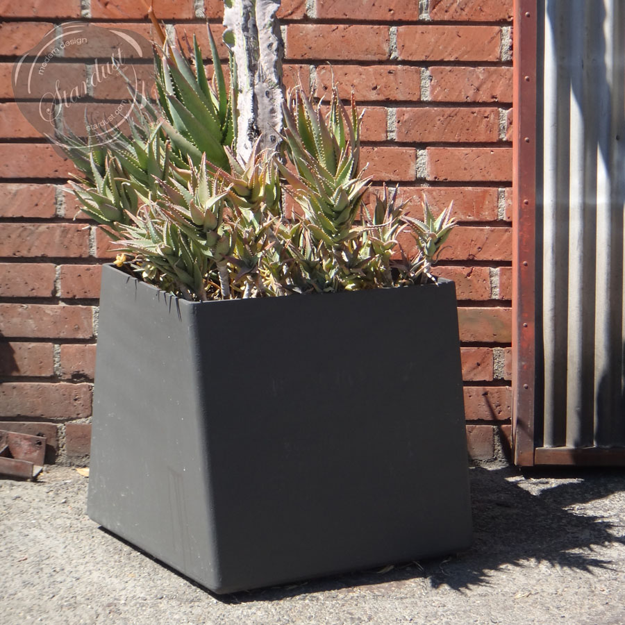 contemporary square large  gal twist cube outdoor planter  stardust - contemporary square large  gal twist cube outdoor planter