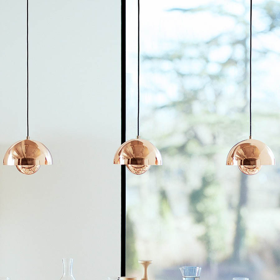 panton flowerpot lamp copper pendant light kitchen Verner Panton Flowerpot Lamp VP1 Pendant Light Copper