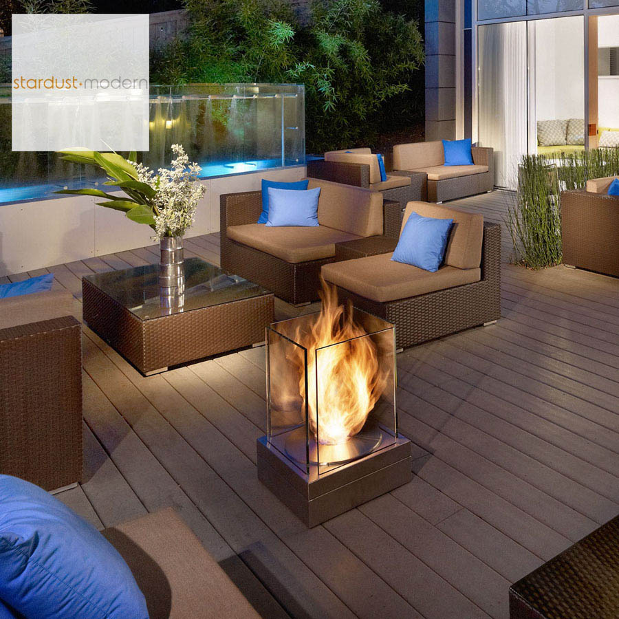 Patio Fireplaces: Mini T Outdoor Fireplace. The design of the striking Mini T outdoor fireplace is inspired by the