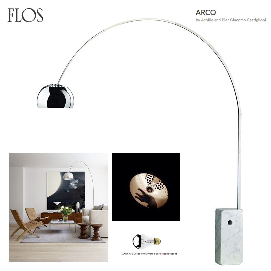 Arco Floor Lamp Original Flos White Marble Base Sale Stardust