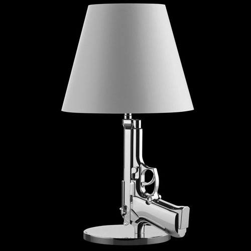 Flos gun lamp bedside light chrome by philippe starck
