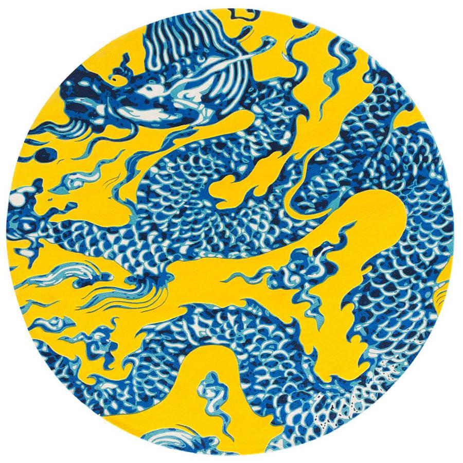 Gandia Blasco Blue China Chinese Dragon Drawing Rug