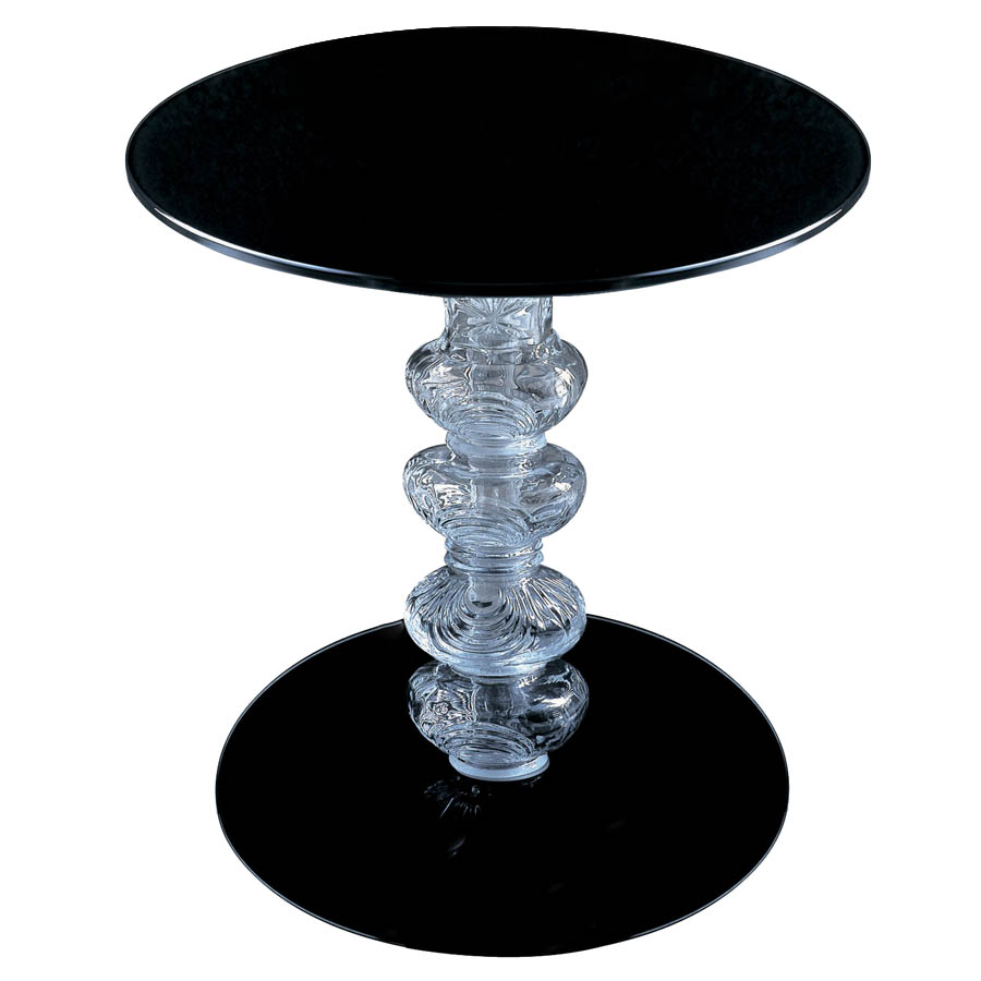 Round black glass coffee table - Glas Italia Calice Round Glass End Table In Black