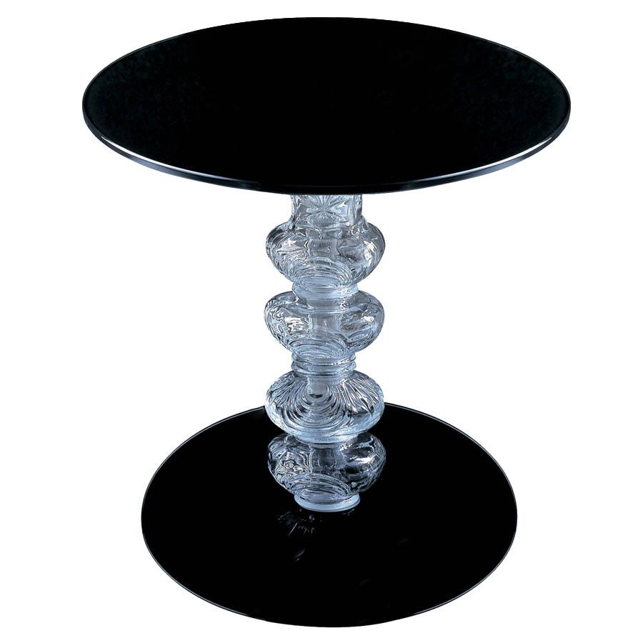 Glas Italia Calice Round Glass End Table In Black By Piero