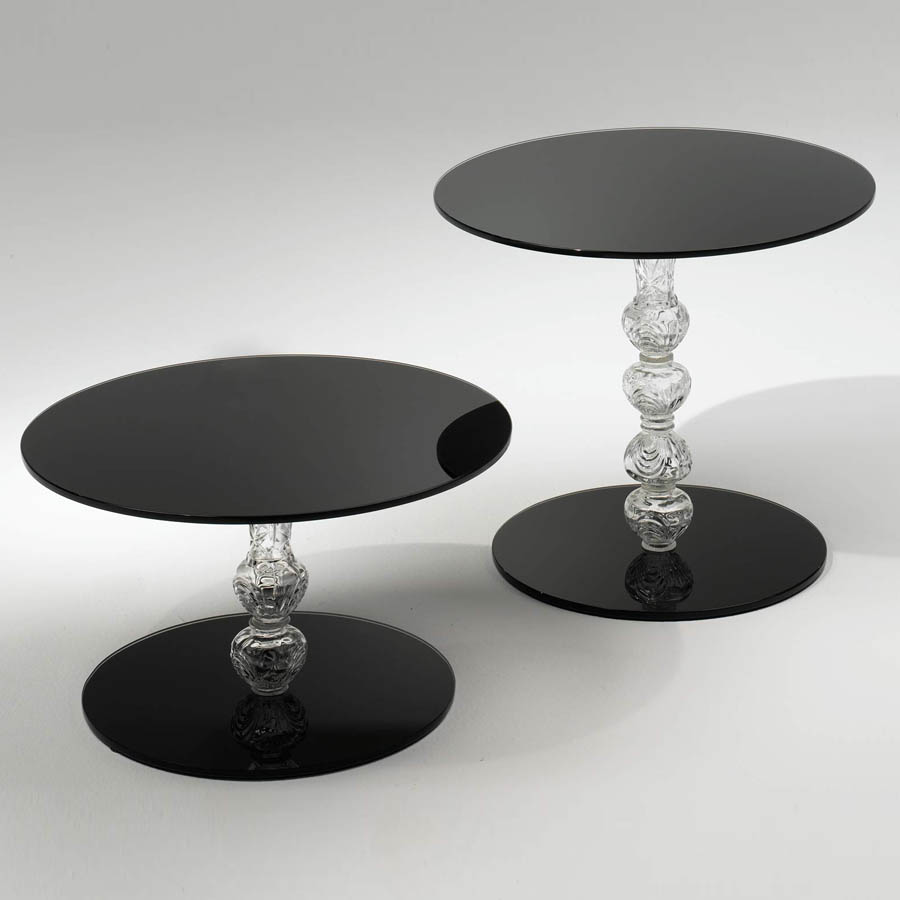 Superb Glas Italia Calice Round Glass End Table In Black ...