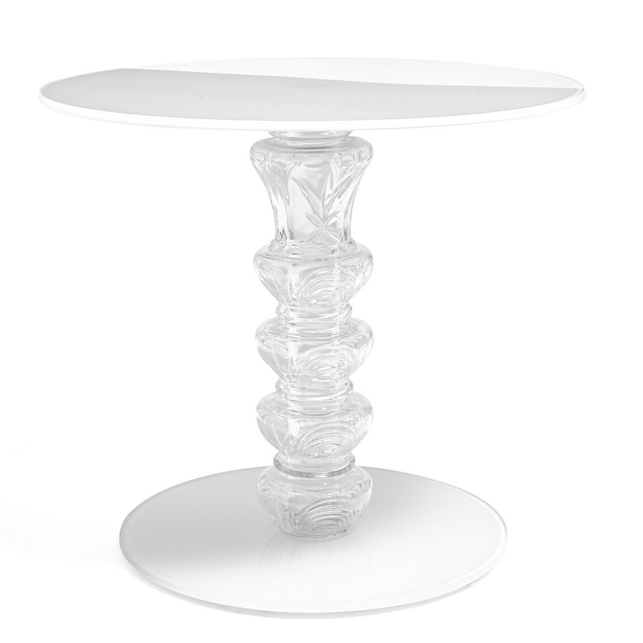 white glass end table