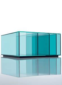 Glas Italia Deep Sea Aqua Blue Glass Coffee Table Stardust