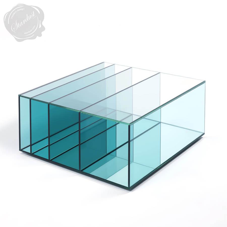 glas italia deep sea aqua blue glass coffee table | stardust