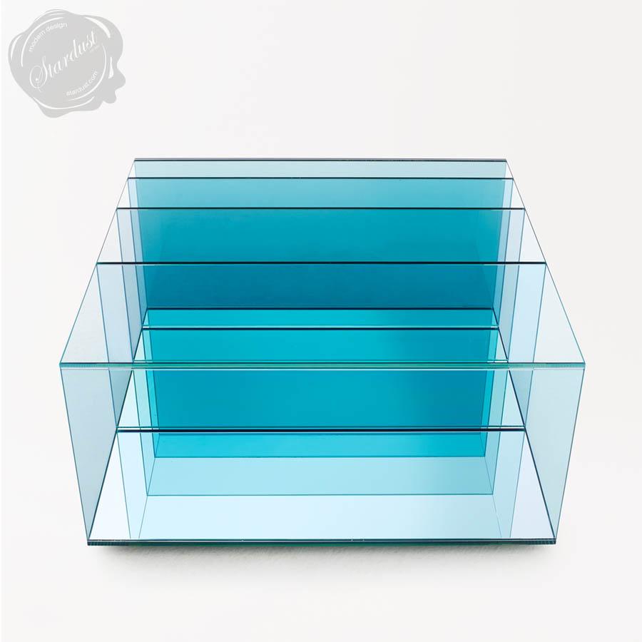 Beautiful Glas Italia Deep Sea Aqua Blue Glass Coffee Table