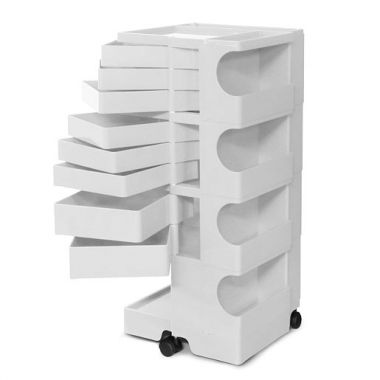 Joe Colombo 8 Drawer Boby Tall Storage Tower Cart W/Wheels White/Black ...