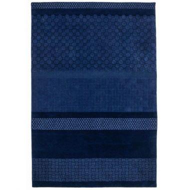 Jie Multi Stripe Dark Blue Wool Rug By