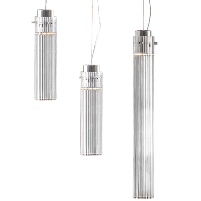 Kartell Rifly Crystal Modern Long Pendant Lamp With 8w
