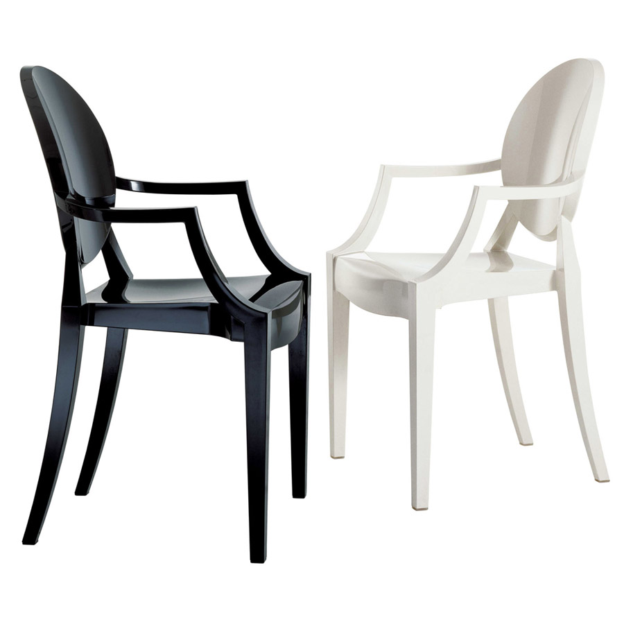 Solid white louis ghost chair outdoor plastic chair with armrest