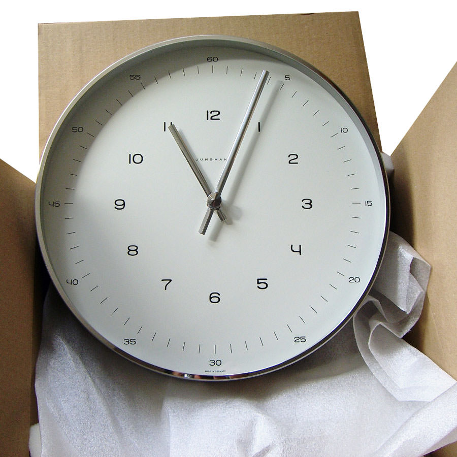 Max bill white wall clock with numbers open box floor sample max bill white wall clock amipublicfo Images