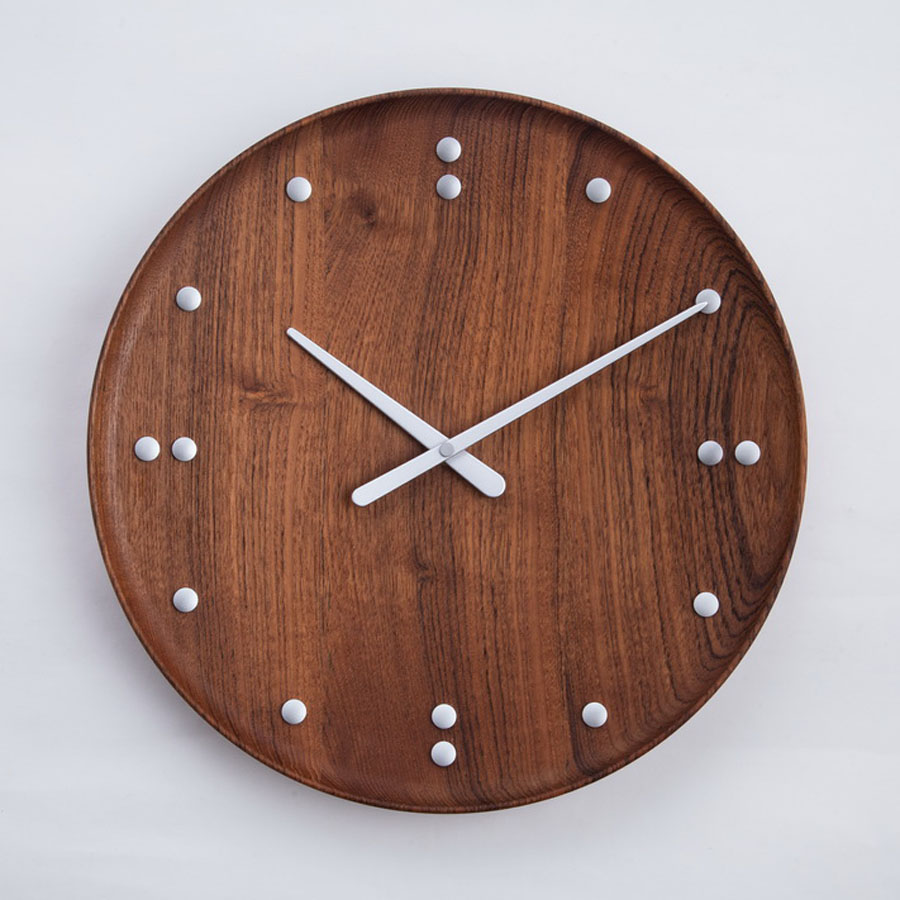 Finn juhl modern 138 round wall clock by architectmade teak log in amipublicfo Image collections