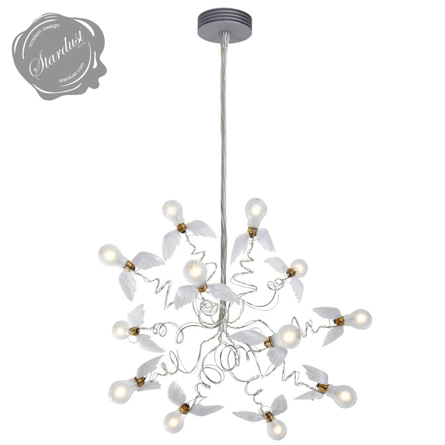 Ingo mauer birdie chandelier with transparent cables stardust birdie chandelier with transparent cables ingo maurer aloadofball Image collections