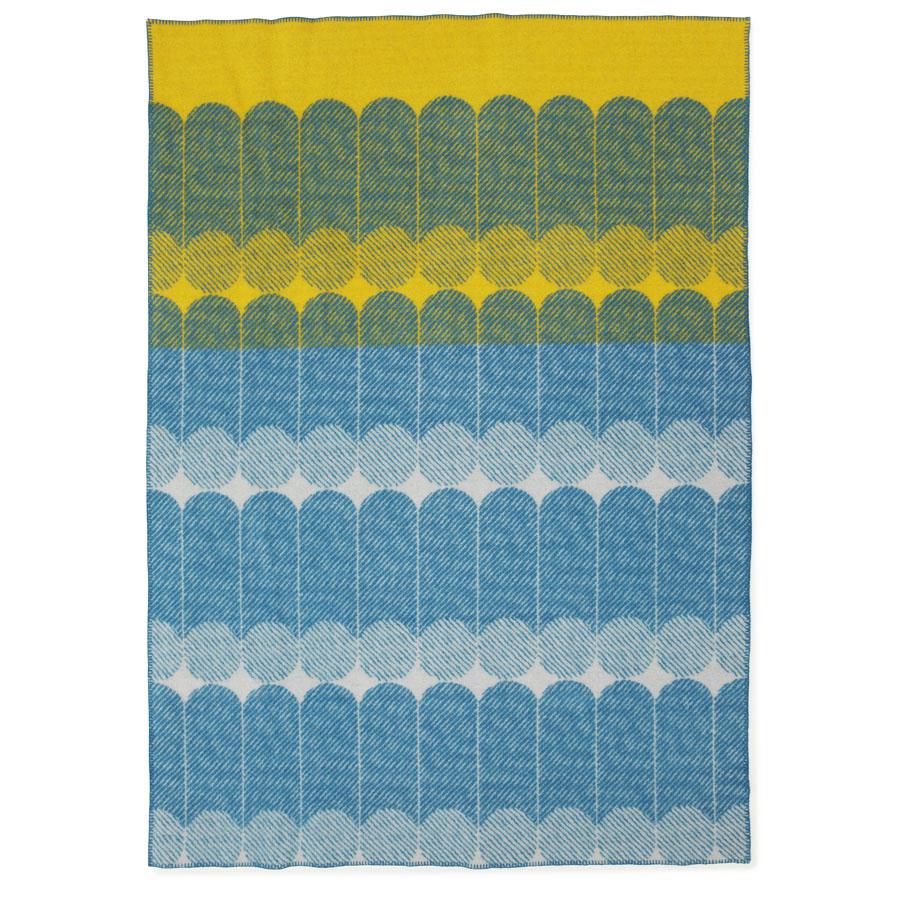 modern graphic midsummer wool throw blanket in yellowdusty blue  - modern graphic midsummer wool throw blanket in yellowdusty blue  stardust
