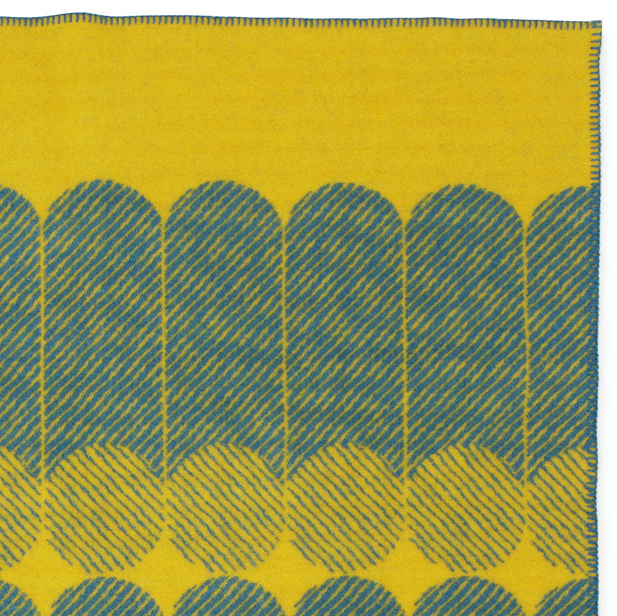 modern graphic midsummer wool throw blanket in yellowdusty blue  - modern graphic midsummer wool throw blanket in yellowdusty blue