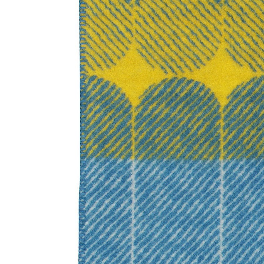 Modern Graphic Midsummer Wool Throw Blanket in Yellow/Dusty Blue