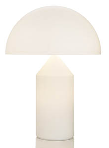 Atollo Modern White Gl Table Lamp By Oluce Round Shade