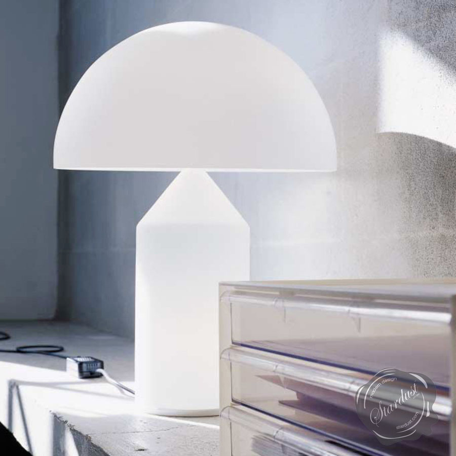 Atollo Modern White Glass Table Lamp By Oluce Round Shade