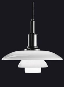 Louis Poulsen PH 3/2 White Glass Pendant Light by Poul Henningsen