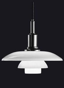 Louis Poulsen PH 3/2 White Glass Pendant Light by Poul Henningsen