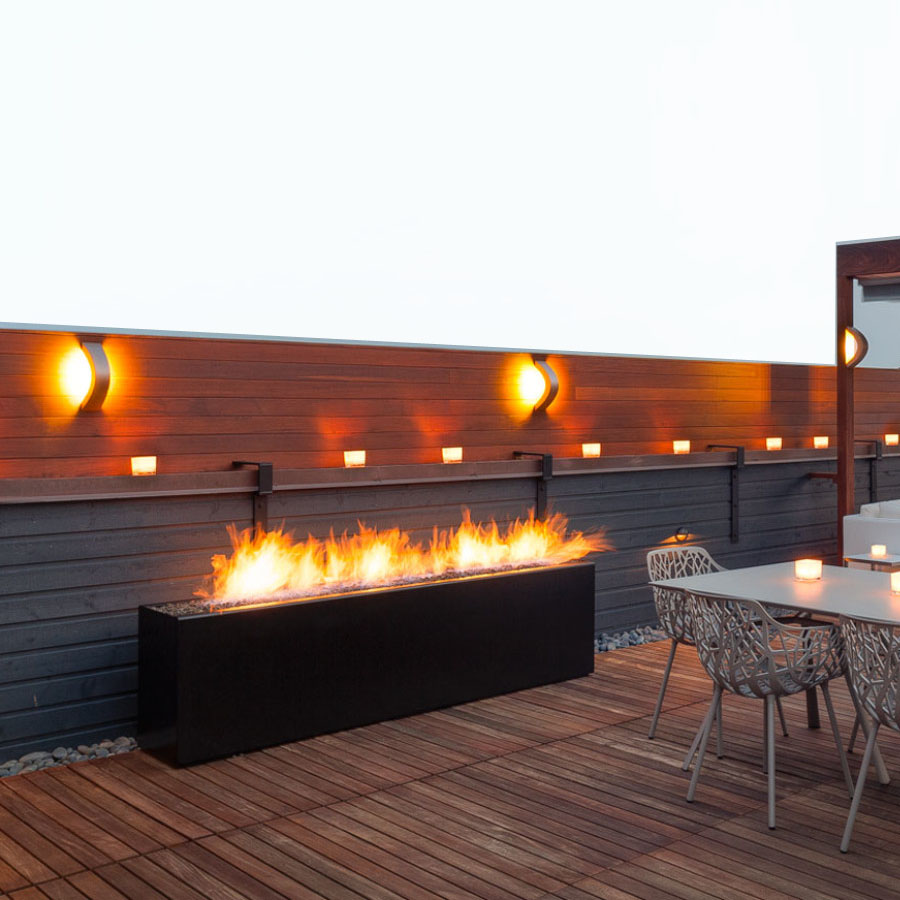 Paloform Komodo Modern Rectangular Outdoor Fire Pit with Powder-Coated Finishes or Corten Weathering Steel. The Komodo Outdoor Fireplace comes with Natural Gas or Propane Fueled.