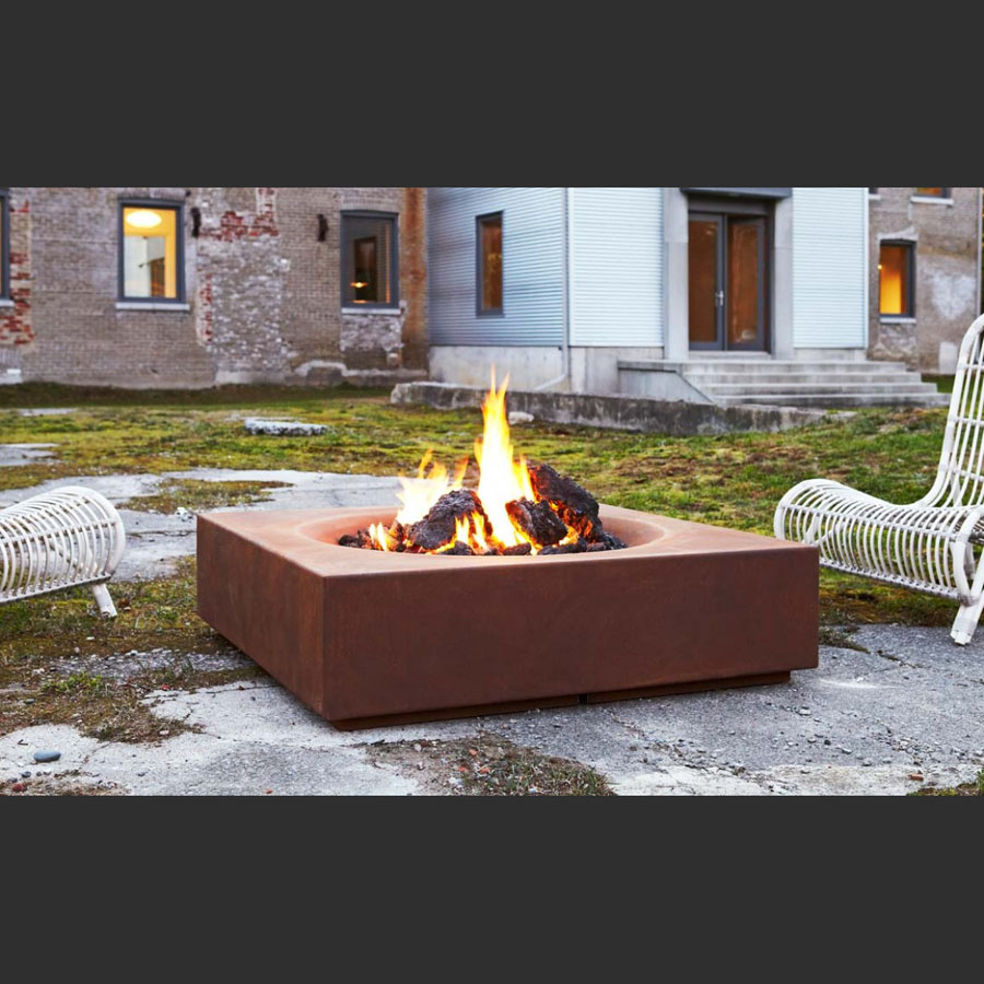 Paloform caldera modern wood burning firepit in corten steel