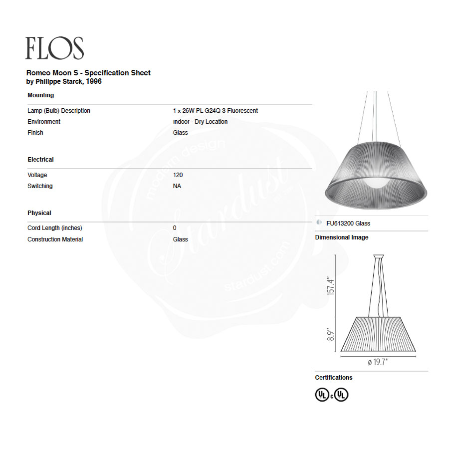 Starck Romeo Moon Large S2 Pendant By Flos Lighting Stardust Fluorescent Table Lamp Wiring Diagram