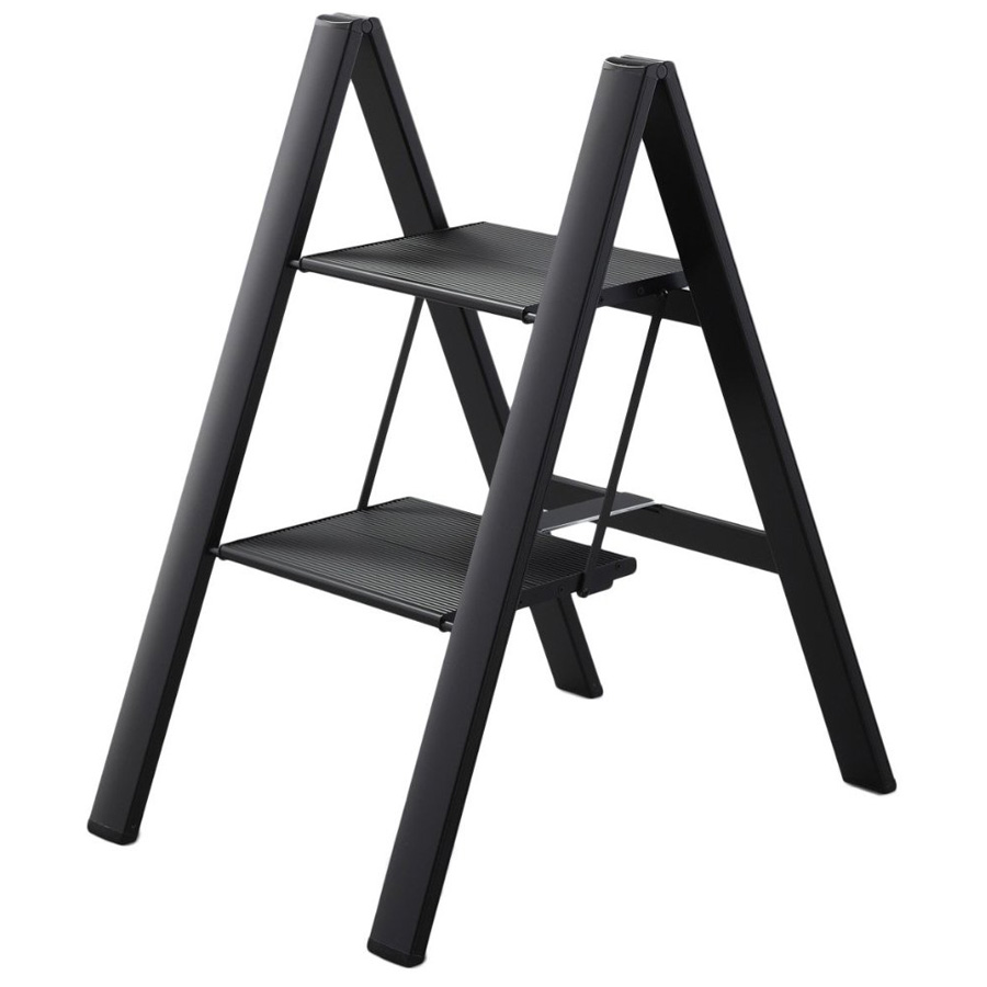 Ultraslim Slim Profile Folding Step Stool Black