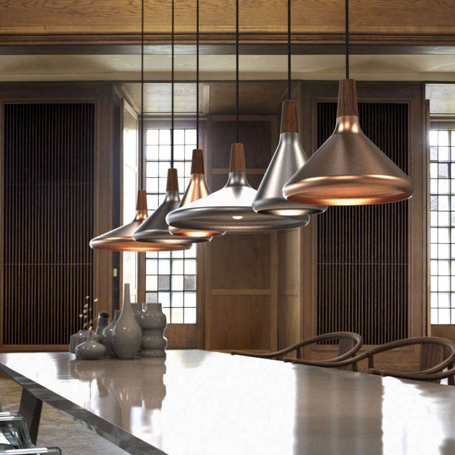 Modern Walnut Copper Hanging Pendant Light Stardust
