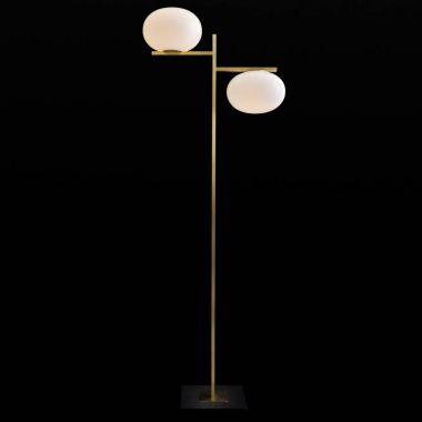 Alba 67 7 In Double Globe Gl Br Floor Lamp By Oluce