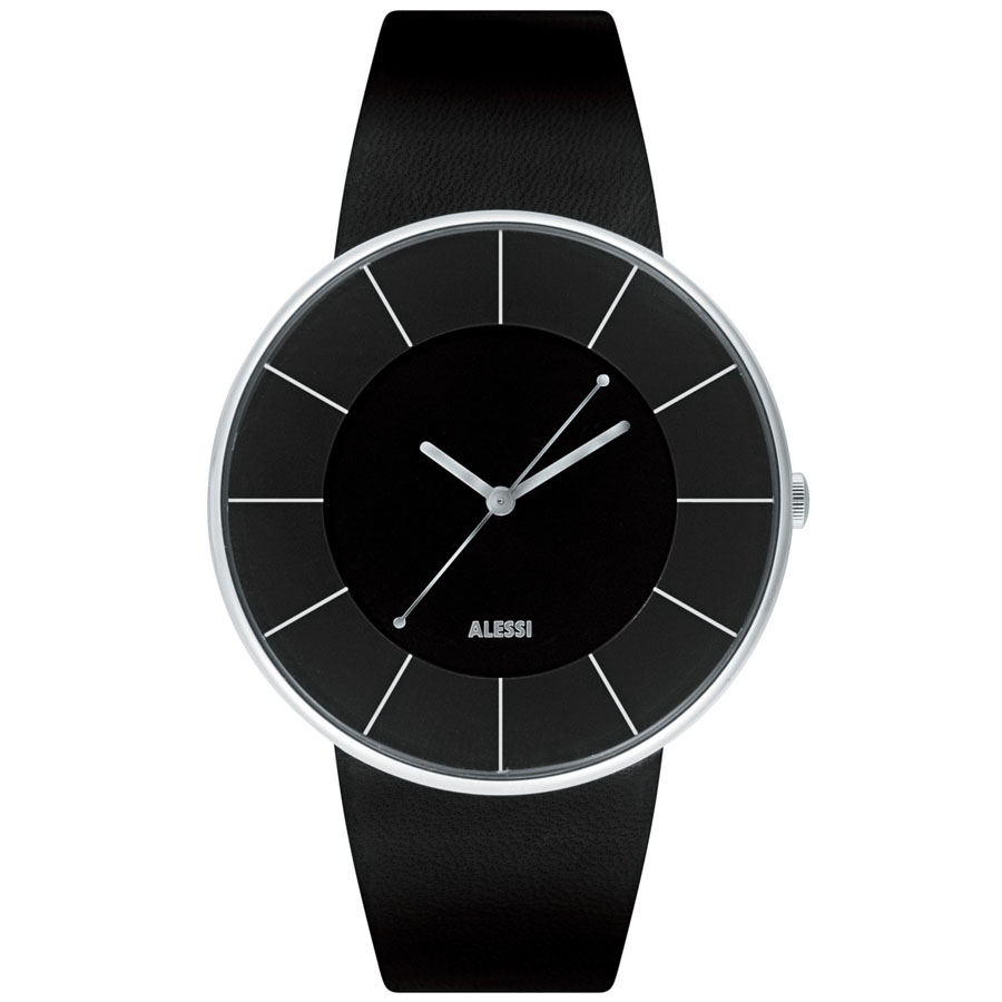 alessi al mm luna men's italian designer watch black  - alessi al luna watch