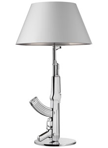 Marvelous Chrome Plated Flos Table Gun Lamp W. White/Silver Shade ...