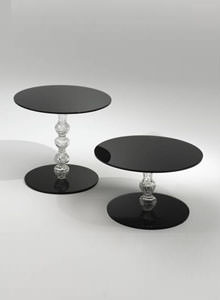 Glas Italia Calice Round Glass End Table In Black By Piero Lissoni