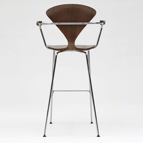 Norman Cherner Bar Stool ... - Norman Cherner Bar Stool With Arms Chrome Base In Classic Walnut